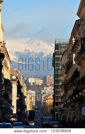 Catania is one of the most important cities of Sicily . Above it is Mount Etna , the highest volcano in Europe