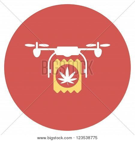 Drugs Drone Delivery vector icon. Image style is a flat light icon symbol on a round red button. Drugs Drone Delivery symbol.
