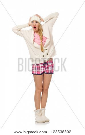 Pretty girl in pink jacket isolated on white