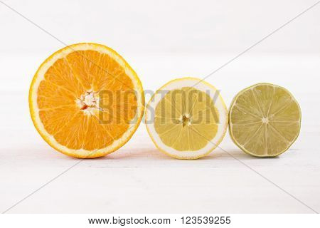 closeup of sliced citrus fruits on wooden table