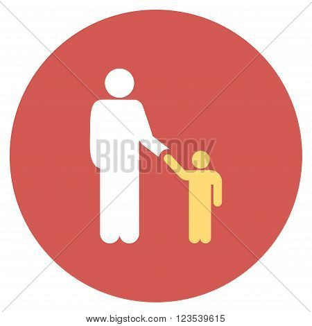Father With Son vector icon. Image style is a flat light icon symbol on a round red button. Father With Son symbol.