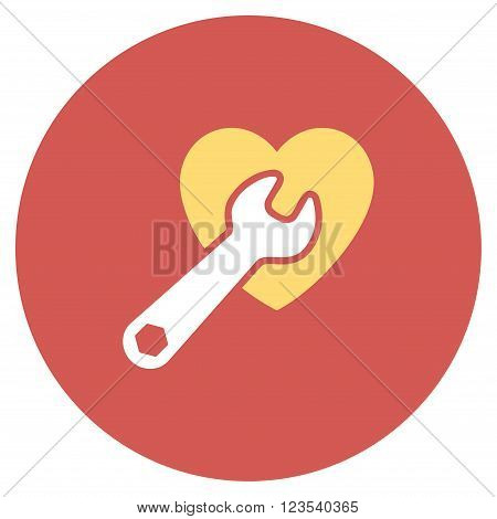 Heart Surgery vector icon. Image style is a flat light icon symbol on a round red button. Heart Surgery symbol.