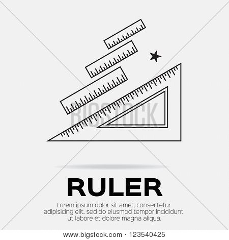 Ruler icon. Ruler symbol. Office Supply Objects. Flat Vector illustration.