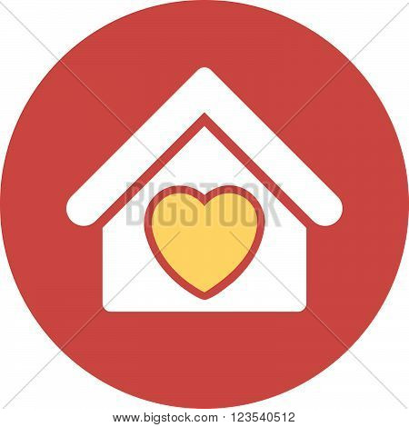 Hospice vector icon. Image style is a flat light icon symbol on a round red button. Hospice symbol.