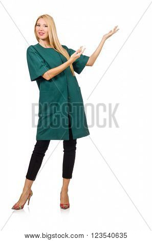 Woman in green coat isolated on white