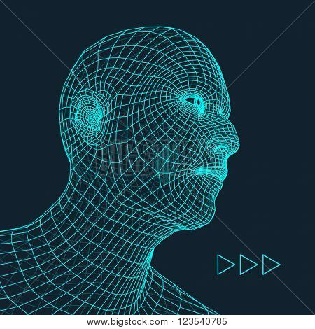 Head of the Person. Human Head Model. Face Scanning. View of Human Head. 3D Geometric Face Design. 3d Covering Skin. Geometry Man Portrait. Can be used for Avatar, Science, Technology, Business
