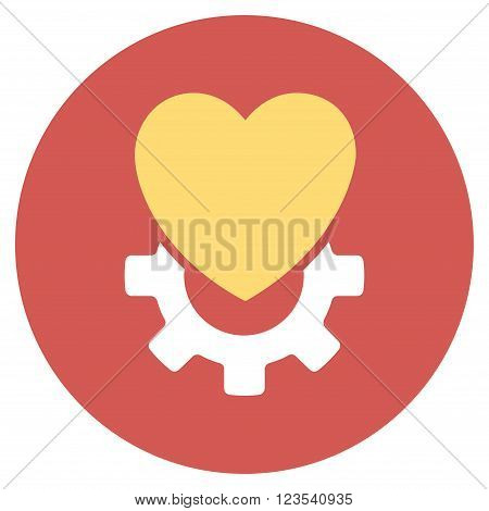 Mechanical Heart vector icon. Image style is a flat light icon symbol on a round red button. Mechanical Heart symbol.