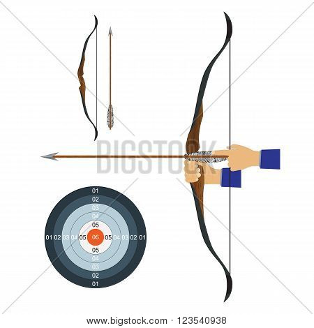 Bow arrow and target. Illustration elements for design.