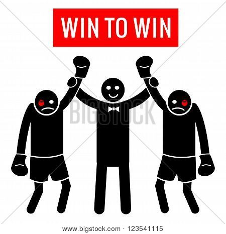 Win to Win. Business situation as boxing. Business concept - Winner and Winner or Looser and Looser. Figure Pictogram Icons. vector illustrations