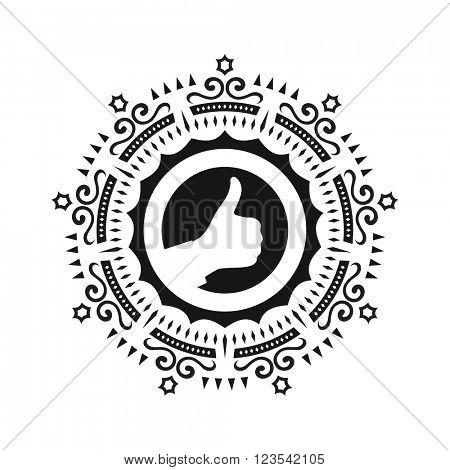 OK hand symbol. Thumbs up. OK sign icon. Vector illustration. Ornament Decoration. Ornate Frame. Elegant Element for Design. Retro Style. Ethnic Circle Element.