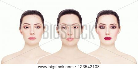 Conceptual collage with three images of one model. Clean face without make-up, natural make-up and bright party make-up, over white background. Eyebrows, complexion, lipstick.