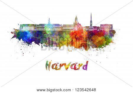Harvard skyline in watercolor splatters with clipping path
