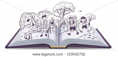 Open book. Summer rest. Scouts at camp. Cartoon illustration in vector format