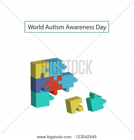 2 April as World Autism Day. Color Puzzles. Vector illustration on isolated background.