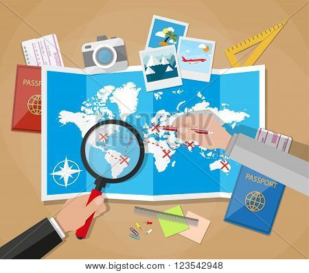 couple of mans with magnifier and pen planning trip at table with paper map of world. passport, airplane ticket, photo camera photos, sticky notes, pins. vector illustration in flat design on brown background