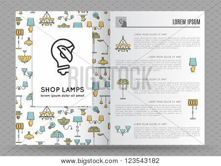 Brochure Flyer design template with flat lamps icons. Logo with image lamp and light. Designed by store lamps. Outline lamp icon, thin line style, flat design, vector illustration