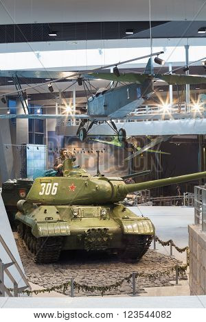 Minsk, Belarus - December 20, 2015: Soviet Russian light night bomber PO-2, heavy tank IS-2 in Belarusian Museum Of The Great Patriotic War