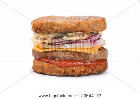 Big tasty hash brown burger isolated on white background
