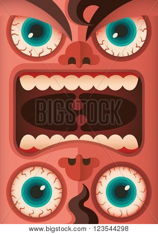Freaky human face. Vector illustration.