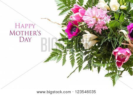 colorful bouquet of spring flowers isolated on white as a corner background sample text in the copy space: happy mother's day