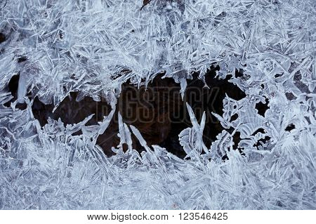 Water blue ice crystals and black water.