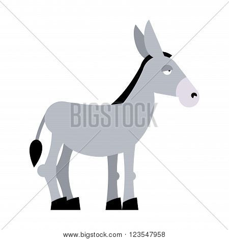 Donkey On White Background. Donkey Isolated. Cartoon Donkey. Domestic Stubborn  Mule