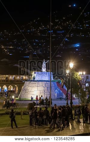 Cusco, Peru - Circa June 2015: Plaza De Armas Mayor And Haukaypata In Cusco, Peru By  Night