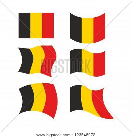 Flag Of Belgium. Set National Flag Of Belgian State. Developing European Flag. Political Sign Of Cou