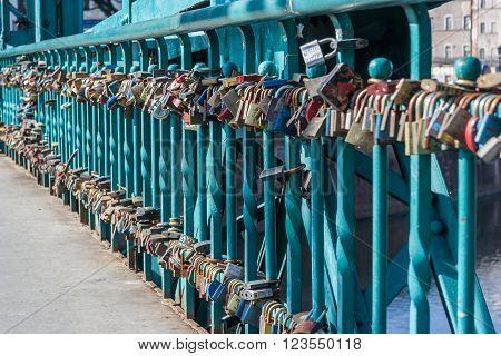 Wroclaw, Poland - Circa March 2012: Locks Left By Lover Couples On Ostrow Tumski Bridge In Wroclaw,