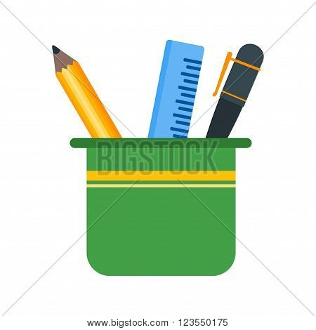 Stationery, holder, pencil icon vector image. Can also be used for stationery. Suitable for use on web apps, mobile apps and print media.