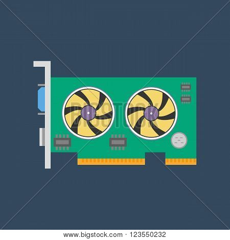 Video card icon. Graphic card. Vector illustration