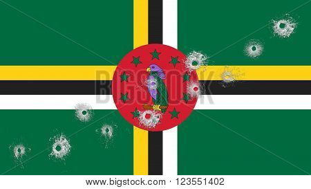 Flag of Dominica, Dominican Flag with glass bullet holes