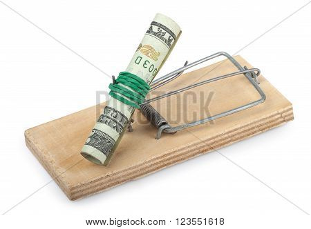 Roll of dollar banknote in the mousetrap isolated on white background concept financial danger