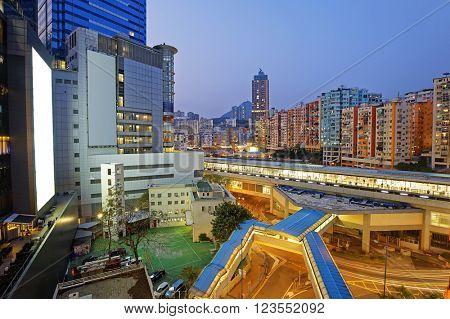 Hong Kong kwun tong downtown at night