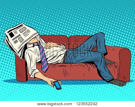 rest fatigue sleep on the couch Siesta pop art style retro. Businessman tired. A man sleeps. Laziness and a bad day