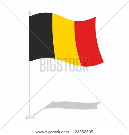 Flag Of Belgium. Official National Symbol Of Belgian State. Traditional Belgian Paced Flag. Belgium