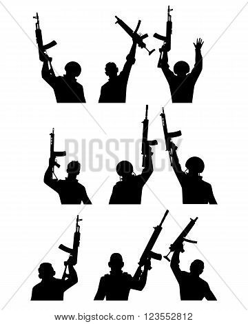 Vector illustration of a soldiers with guns silhouettes