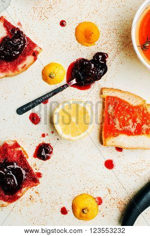 Homemade Sandwiches With Peach And Cherry Jam On A White Backgro