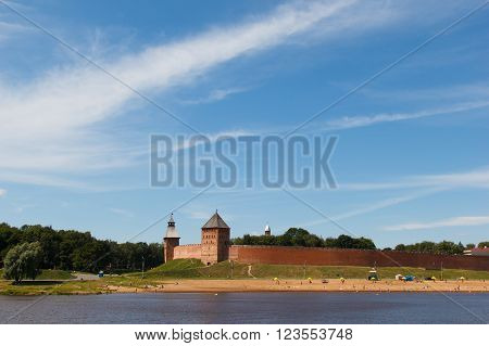 Novgorod Kremlin - the fortress of Great Novgorod. Citadel is situated on the Volkhov river. Monument of architecture of Federal importance, included in the world heritage list of UNESCO.