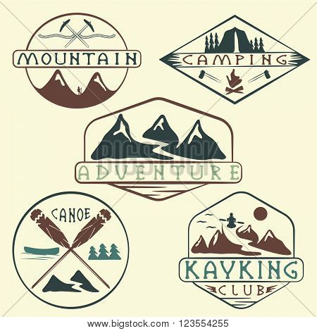 Kayaking, Camping,climbing And Adventure Vintage Labels Set