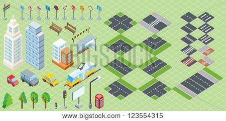 Isometric part of the city infrastructure. Isometric town, street modern, real structure, architecture exterior 3d for map, road and transport, house and auto, crossroad and tree. Vector illustration