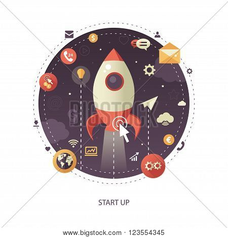 Modern flat design start up business vector infographics illustration with a rocket liftoff to the space