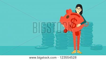 Woman carrying piggy bank.
