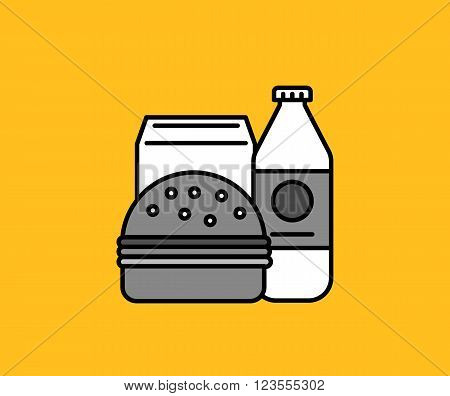 Breakfast burger and milk icon. Milk breakfast food, bread and drink, sandwich breakfast lunch, hamburger morning, healthy breakfast beverage, snack eating vector illustration