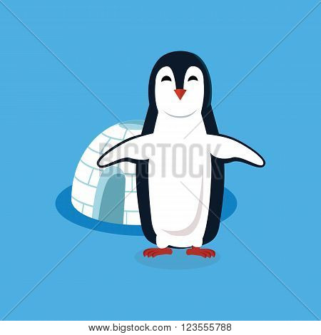 Animal penguin design flat. Bird penguin vector, cartoon polar animal winter isolated, wild penguin character near house vector illustration on blue background