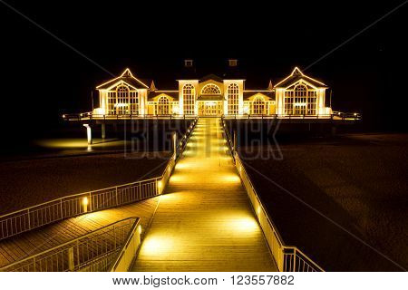 Night view over Seabridge restaurant in Sellin, Ruegen Island, Germany. Photo taken within clear skies night 16th of February 2016