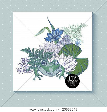 Vintage pond water flowers vector greeting card, Botanical shabby chic illustration iris, lily, frog, wildflowers leaves and twigs Floral design elements.