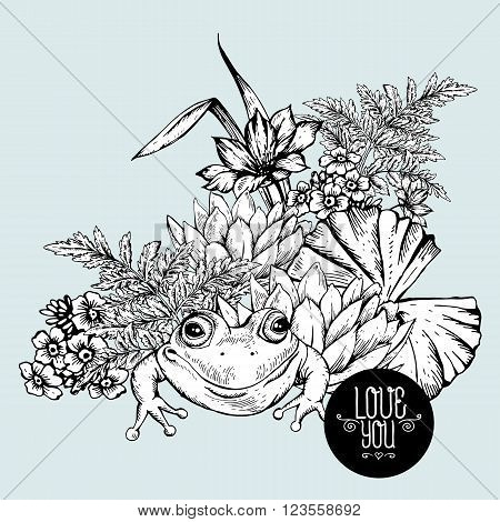 Vintage monochrome pond water flowers vector greeting card, Botanical shabby chic illustration iris, lily, frog, wildflowers leaves and twigs Floral design elements.