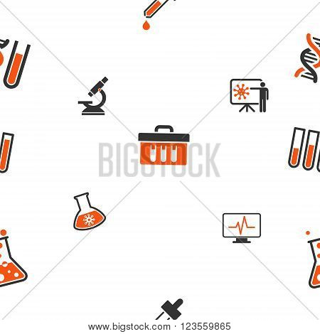 Chemical Labs seamless repeatable pattern. Style is flat vector symbols on a white background.