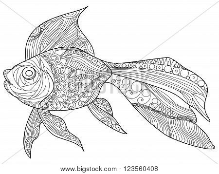 Goldfish sea animal coloring book for adults vector illustration. Anti-stress coloring for adult. Zentangle style. Black and white lines. Lace pattern